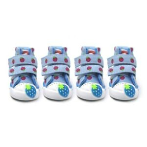 4pcs Cute Strawberry Dog Shoe Warm Puppy Rain Boots Cat Anti-slip Sneaker Teddy