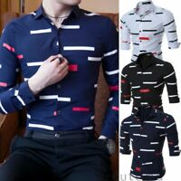 Men's Casual Formal Shirt Long Sleeve Slim Fit Business Dress Shirts Tops Blouse