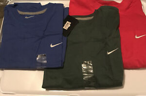 Nike Men's XL Standard fit Logo 100% cotton T-shirts lot NWT Red Blue and green
