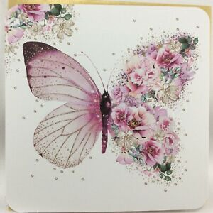 Beautiful Nigel Quiney  Birthday Card with Butterfly and Flowers