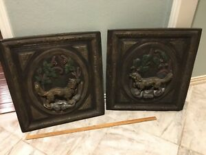 Fox And Hound Dog Decorative Wall Sculpture Plaques Pair