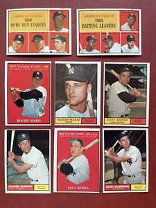 1961 Topps YANKEES TEAM SET  (16 CARDS) MARIS X2 / Yogi Berra 2 / ELSTON HOWARD