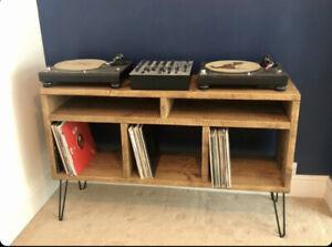 Rustic Pine Vinyl Storage Unit With Hair Pin Legs