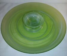 Large Lime Green Glass Serving Tray w/ White Opaque Swirl And Center Bowl 15""
