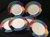 "Lot 6 Mikasa ""Currents"" M5101 Multicolored 8 1/4"" Salad Plates - Near Mint"