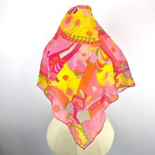 VTG Psychedelic Scarf Retro Print MOD Floral Groovy Neon Abstract Art to Wear