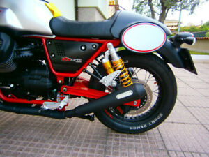 Mistral Short Exhaust Muffler Set for Moto Guzzi V7 III Racer, Stainless Black