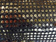 6MM GOLD BLACK SEQUIN FABRIC PER METRE ONE WAY STRETCH 100% POLYESTER 112 CM