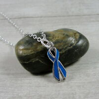 Blue Awareness Ribbon Necklace - Silver & Blue Colon Cancer Awareness Charm NEW