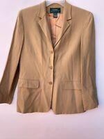 Lauren Ralph Lauren Women's Vintage Blazer Tan Wool/Rayon Jacket Suit Size 12