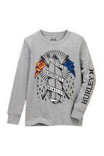Hurley Big Boys L Long Sleeve T-Shirt Tee Gray Heather Surf Board Premium NWT