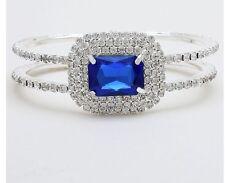 Royal Blue Silver Clear Crystal Rhinestone Pageant Cuff Wedding Formal Bracelet