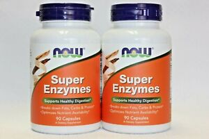 2 Pack! NOW Foods Super Enzymes Dietary Supplement, 90 Caps each, Best By 11/23