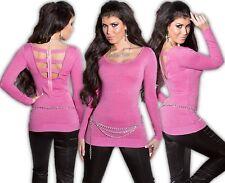 Koucla pull long robe tricotée strass fermeture éclair cut out sweat rose