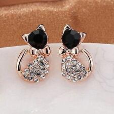 1 Pair Elegant Women Cat Rhinestone Cubic Zirconia Ear Stud Earrings Jewelry