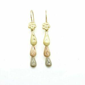 14k multi color Gold Hollow eye drop Earrings for female fine gift jewelry 2.7g