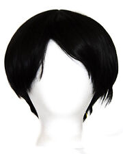 11'' Short Straight Bowl Cut Natural Black Synthetic Cosplay Levi Wig NEW