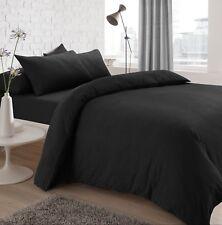 Jersey Melange Plain Yarn Dyed Grey Charcoal Duvet Cover Bed Set & Pillowcases