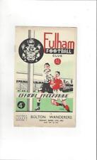 Fulham v Bolton Wanderers 1951/52 Football Programme