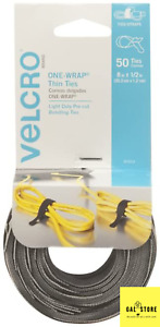 VELCRO Brand ONE WRAP Thin Ties | Strong & 8 x 1/2In - 50 Ties, Black/Gray US