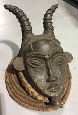 RARE Authentic BENA LULUA Original CONGO Bronze African MASK W Horns Tribal Art