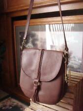 NWT LUCKY BRAND ALI BRANDY BROWN PEBBLED LEATHER FLAP CROSSBODY BAG TASSEL~$188