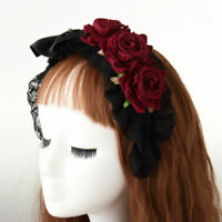 Women's Gothic Steampunk Black Bowknot Headband Red Rose Hairband Headwear