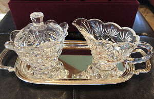Godinger Crystal Shannon Sugarbowl Creamer Set With Silver Tray