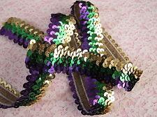 Metallic Mardi Gras Stretch Sequin Trim, Purple Green and Gold Stretch Trim