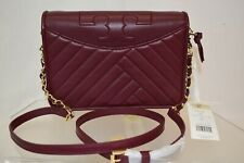 NWT TORY BURCH ALEXA COMBO IMPERIAL GARNET QUILTED LEATHER REVA CROSSBODY BAG