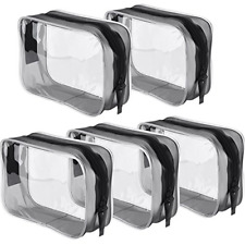 Pangda 5 Pack Clear PVC Zippered Toiletry Carry Pouch Portable Cosmetic Makeup