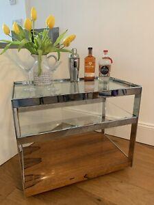 Vintage Merrow Associates Drinks Trolley - Glass, Chrome, Rosewood Base