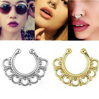 Fake Gem Septum Ring Non-Piercing Nose Ring Hanger Clip-On Jewelry 1pc JP