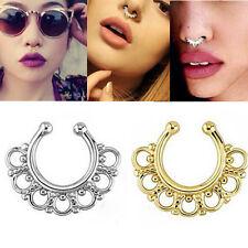 Fake Gem Septum Ring Non-Piercing Nose Ring Hanger Clip-On Jewelry In UK