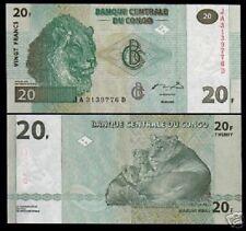 CONGO ZAIRE 20 FRANCS P94 2003 BUNDLE LION CUB UNC MONEY LOT BANK NOTE X 100 PCS