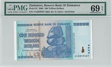 PK 91 2008 ZIMBABWE 100 TRILLION DOLLARS RESERVE BANK PMG 69 EPQ SUPERB GEM UNC
