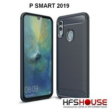 POUR HUAWEI P SMART 2019 COQUE HOUSSE CARBONE BLEU SILICONE GEL HOESJE COVER