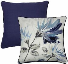 """FLORAL FLOWERS NAVY BLUE WHITE 100% COTTON PIPED CUSHION COVER 17"""" - 43CM"""
