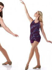 Adult Small Contemporary Dance Costume Temptation Boy Short Unitard & Top PLUM