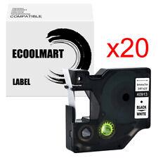 20pk Compatible Dymo D1 40913 Label Tape Labelmanager 450 280 150 Black On White