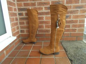 Tan Suede Effect OVER KNEE Riding Style Boots * sz 5 uk * NEW WITH TAGS!
