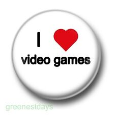 I Love / Heart Video Games 1 Inch / 25mm Pin Button Badge Computer Arcade PC