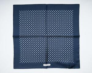"Salvatore Ferragamo Dark Blue Gancini Pattern 100% Silk Pocket Square 13"""