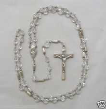 † SUPER VINTAGE STERLING RIDGED LINKS & CLEAR FACETED BEADED ROSARY NECKLACE †