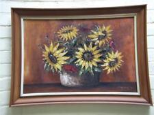 Vintage Still Life Oil Painting Sunflowers Framed Signed Kobald 74