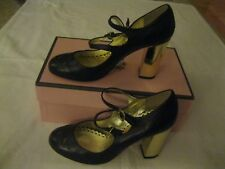Juicy Couture Women's Black Leather Double Strap Gold High Heel Shoe Size 7.5