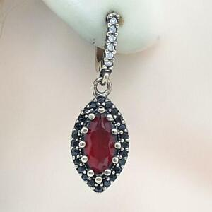 Deco 4.30ctw Ruby & Spinel 14K Yellow Gold 925 Sterling Silver Earrings 9.3g