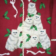 Storybook Knits Sweater Cardigan M Cats Christmas Sweater Cat Lady Red