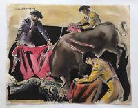 Circle of Joan Miro original ink watercolor painting signed Ernest Hemingway