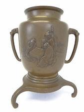 Antique Old Bronze Metal Japanese Scholar Ikebana Three Legged Flower Vase Pot